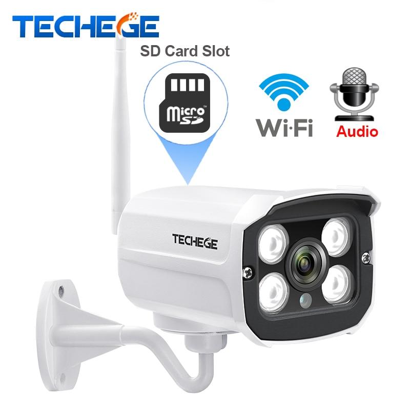 Techege HD 1080 P ranura de tarjeta SD inalámbrica cámara de Audio 2.0MP wifi cámara de seguridad de la visión nocturna IR de Metal a prueba de agua al aire libre yoosee