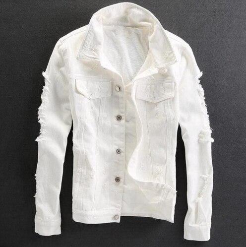 2018 Bianco Slim Fit Jeans Uomo Giacca Di Alta Qualità Classico Foro Strappato Moto Uomini Giacca Monopetto In Cotone Homme Cappotti Imballaggio Di Marca Nominata