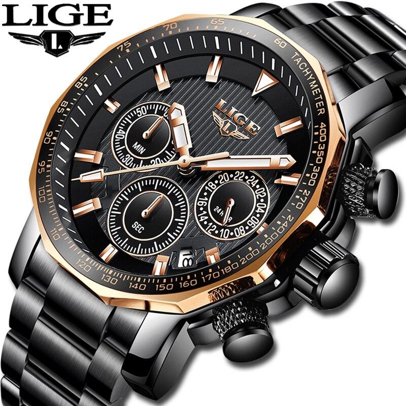 2019 Nova LIGE Mens Relógios Top Marca de Luxo dos homens Esportes Militares Homens Relógio Todo o Aço À Prova D' Água Relógio de Quartzo Relogio masculino