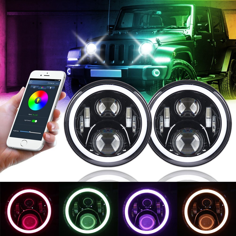 RGB Halo 7 inch LED Headlights for Jeep Wrangler Plug and Play 7 inch LED Headlight bulbs with Bluetooth Function for Hummer H1 1 pair 7 inch rectangular led headlight