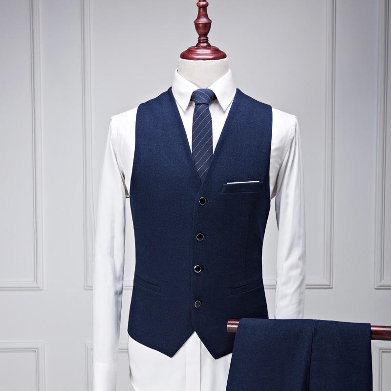 Unique Poitrine Costumes Pantalon Style Mode Haute Mariage Gilet Bleu Nouveau Qualité pu 2017 Costume Hommes veste Laine Ciel De RE1tqnww