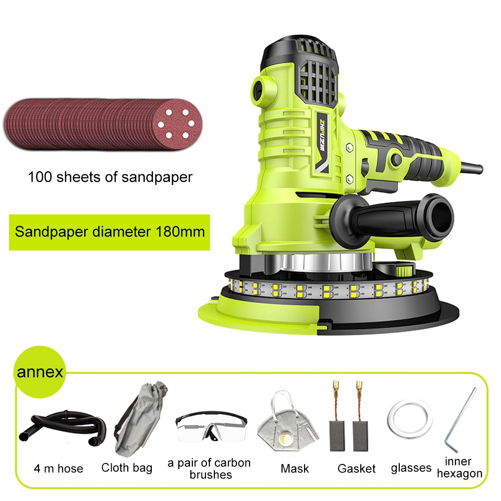 810W Wall Polisher Grinding Machine 500-2100r/min Dry Wall Sander And Vacuum With Electric LED Light Wall Putty Polisher Machine