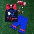 kids Baseball season popular baseball style sleeveless capris girls clothing with matching necklace and headband