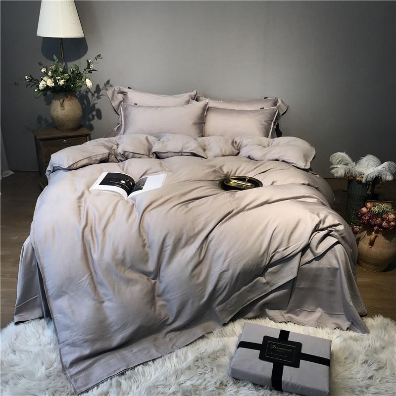 Gray Silver Tencel Silk Soft Bedding set Queen King size Bed set bed sheet Duvet cover Fitted sheet parure de lit ropa de camaBedding Sets   -