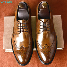 QYFCIOUFU high quality vintage Oxford Dress Shoes For Men Genuine Cow Leather formal shoes Handmade Wedding Office italian