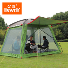 Hewolf high quality 5-8 person four-season double layers ultralarge rainproof camping family outdoor tent with bottom