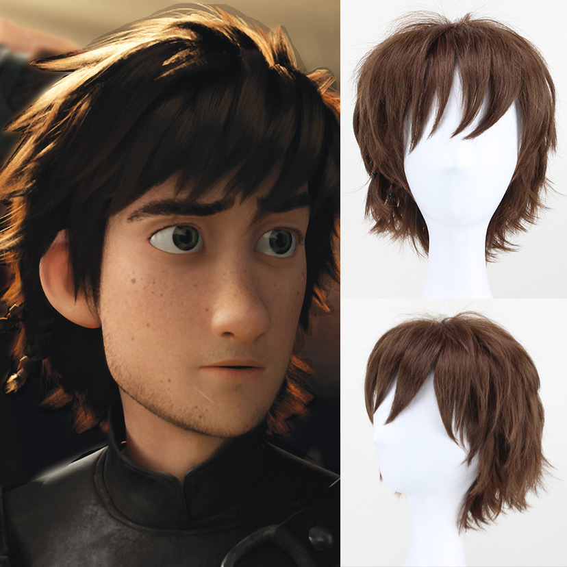 How To Train Your Dragon 2 Mens Hiccup Cosplay Wig Short Brown Hair Wig Costumes With Free Hair Cap
