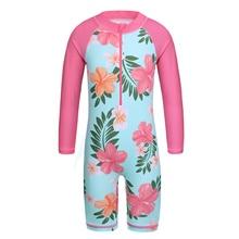 BAOHULU Cyan Floral Long Sleeve Girls Swimwear One Piece Children Swimming Suits UPF50+ Swimsuit Kids 4-11 Years Rash Guards