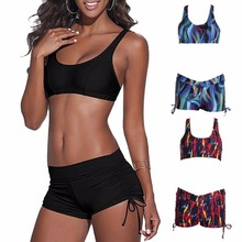 Set Women Push-up Padded Shorts Bandage Swimsuit Boxers Swimwear Bikini