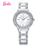 Barbie Luxury Ceramic 30m Water Resistant Women Wrist Watch Free Shipping Top Quality Women Steel Ceramic Rhinestone watches