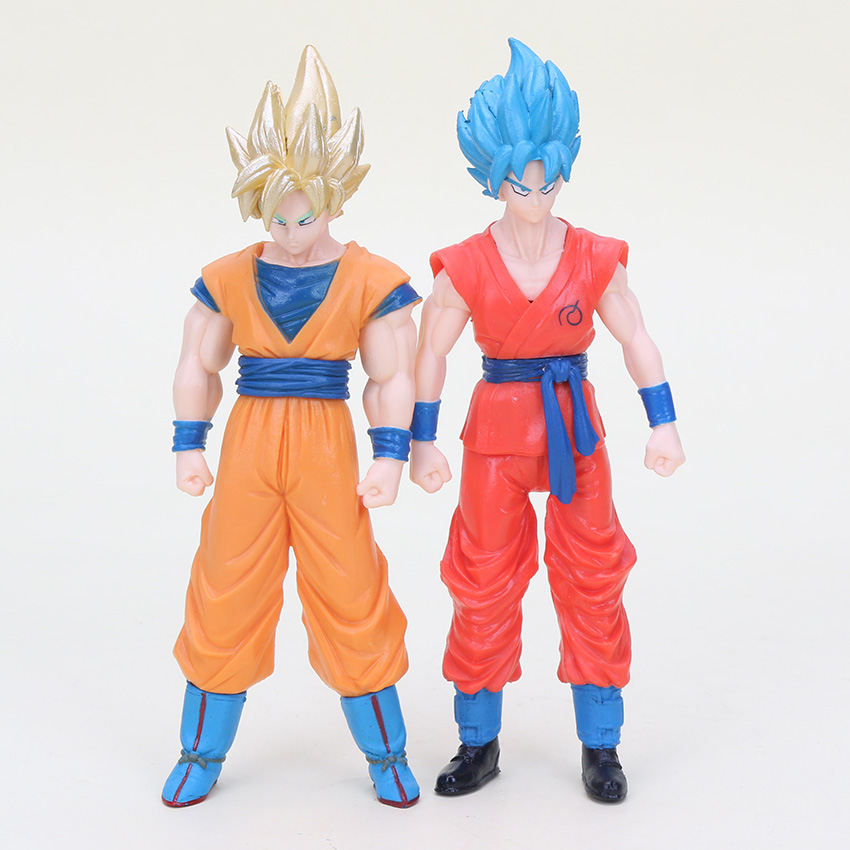 2pcs/set Dragonball Figure Dragon Ball Z Resurrection F Super Saiyan God Goku Blue Hair Son Goku Pvc Action Figures Model Toy Action & Toy Figures