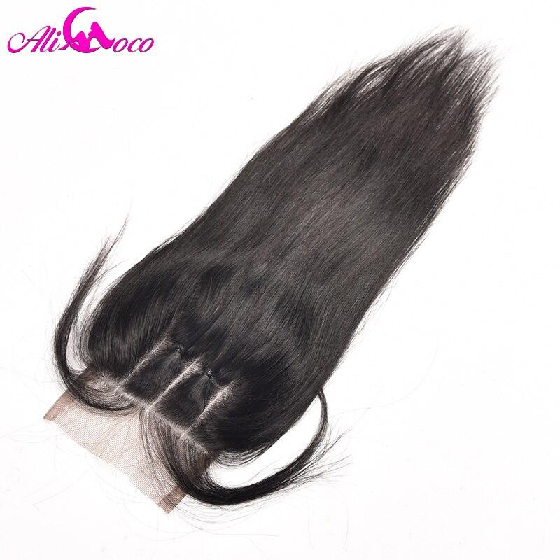 Али Коко волос Бразильский прямые волосы Синтетическое закрытие шнурка волос 4x4 три части Синтетическое закрытие волос с ребенком волос non-...
