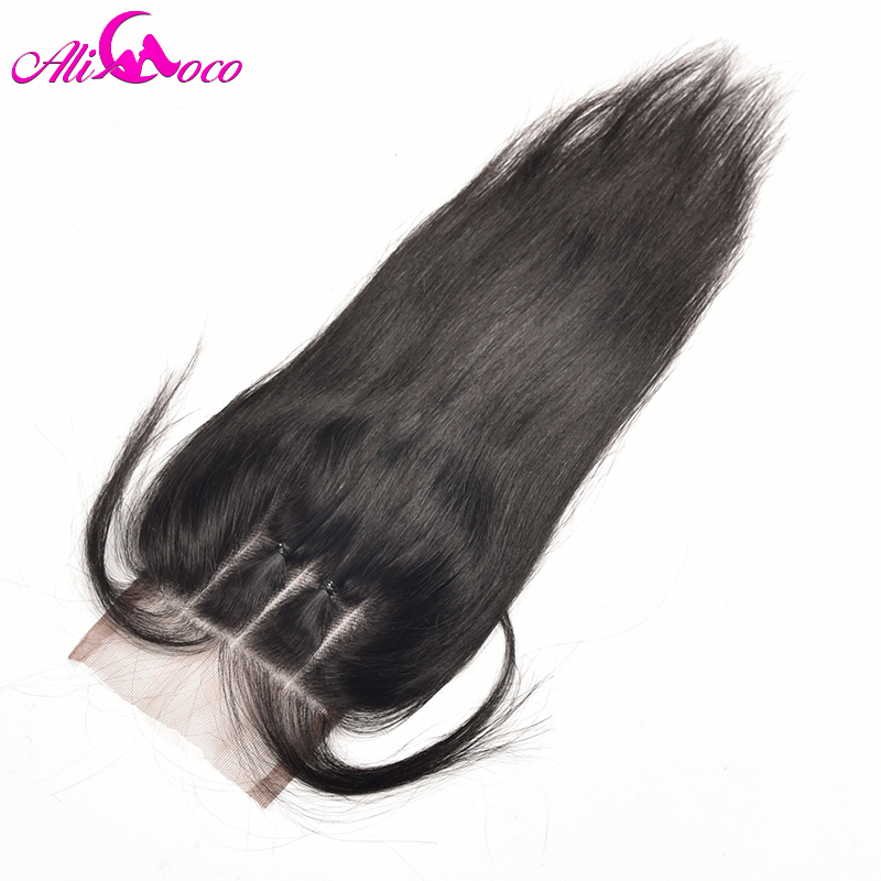 Ali Coco Hair Brazilian Straight Hair Lace Closure 4x4 Three Part Closure With Baby Hair Non-Remy 100% Human Hair