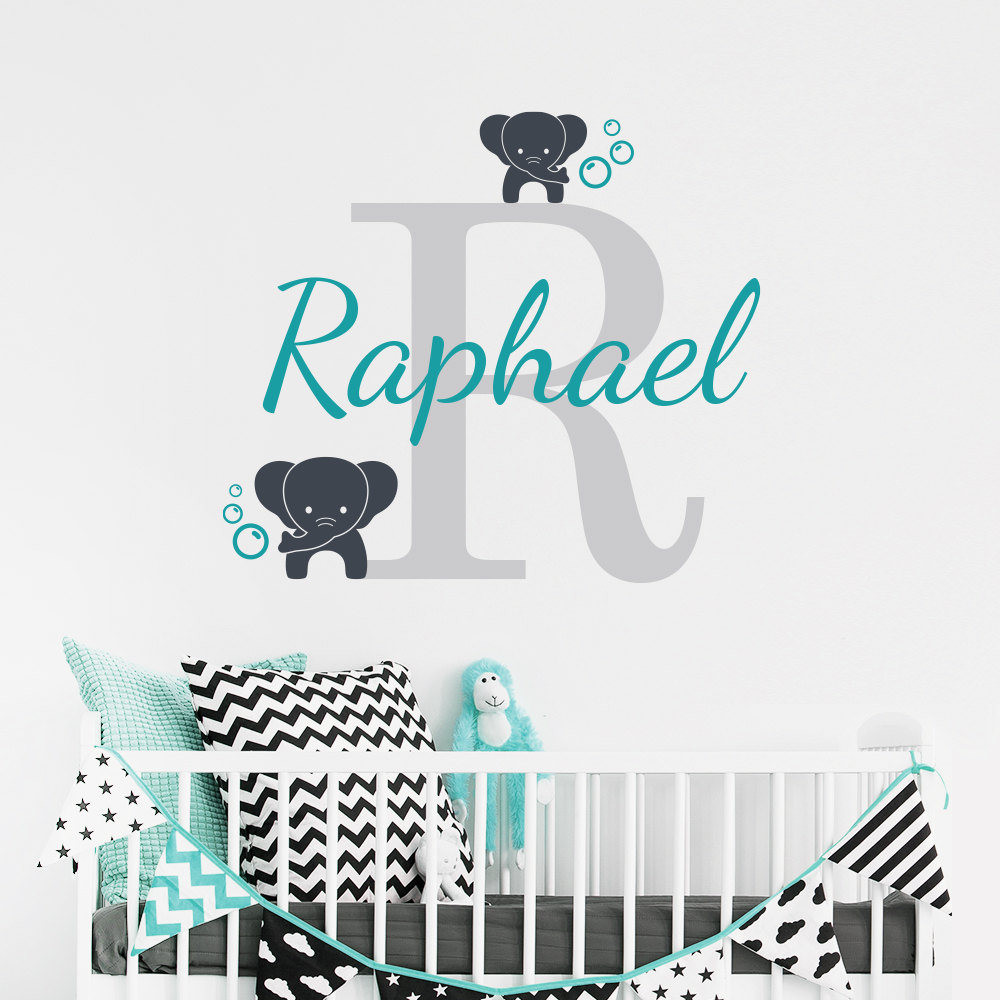 Skræddersyet Navn Elephant Wall Decal til Kids Room- Nursery Boy's Navn Baby Wall Decal - Elephants Vinyl Wall Sticker D957