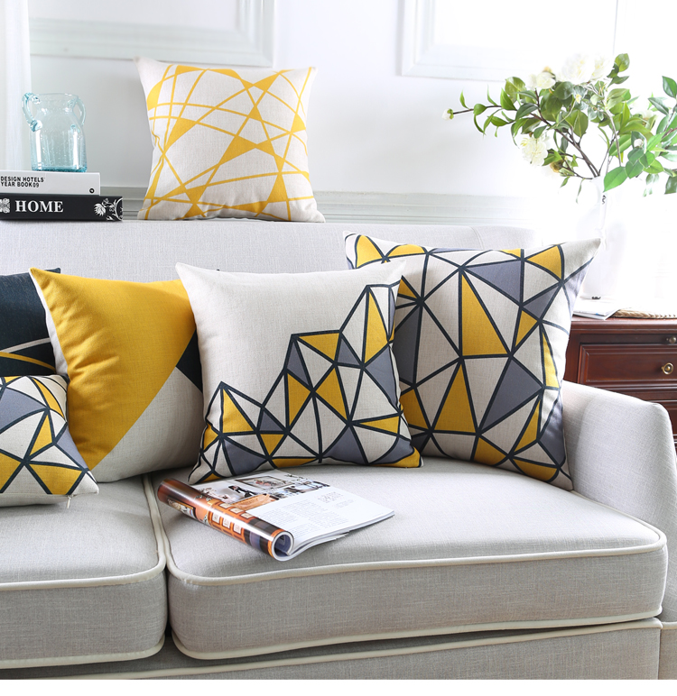 yellow geometric decorative pillows cushion cover grey throw pillow caseplaid striped pillowseat - Decorative Pillows For Sofa