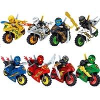 8 шт./компл. Ninjago Cole Kai Jay Lloyd Nya Зейн золотой с модель мотоцикла строительные блоки игрушки для детей Совместимость Legoe