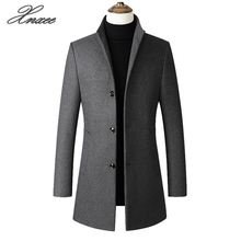 Men Jacket Warm Winter Trench Coat Long Outwear Button Overcoat stand collar  Casual Windbreaker Overcoat Jackets women winter warm lapel trench parka coat jacket long slim overcoat outwear