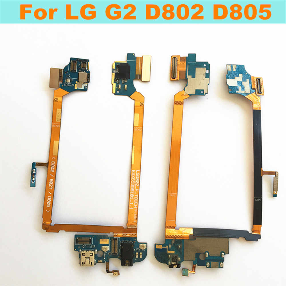 Original USB Charging port + MIC Headphone Jack Flex cable For LG G2 D802  D805 connector