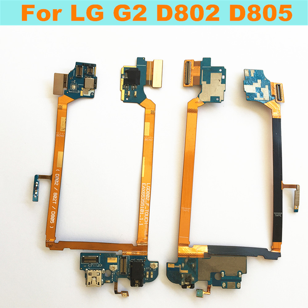 Original USB Charging port Dock+MIC Headphone Jack Flex cable For LG G2 D802 D805 Charger plug connector cable Replacement parts