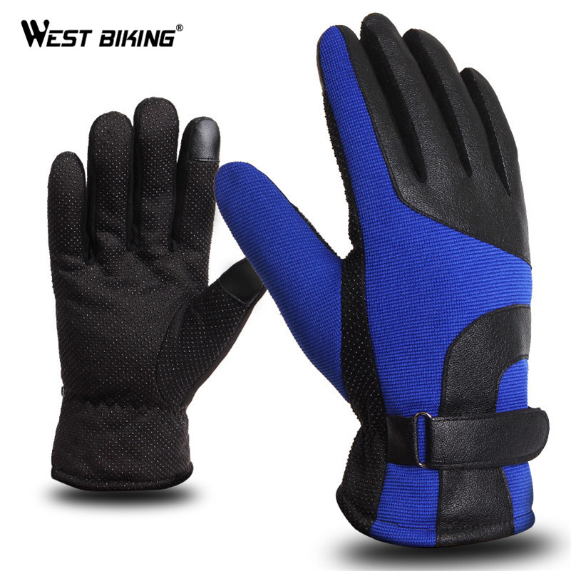 WEST BIKING Winter Windproof Bicycle Gloves Outdoor Sports Touch Screen Thermal Warm Full Finger Bike Motorcycle Cycling Gloves
