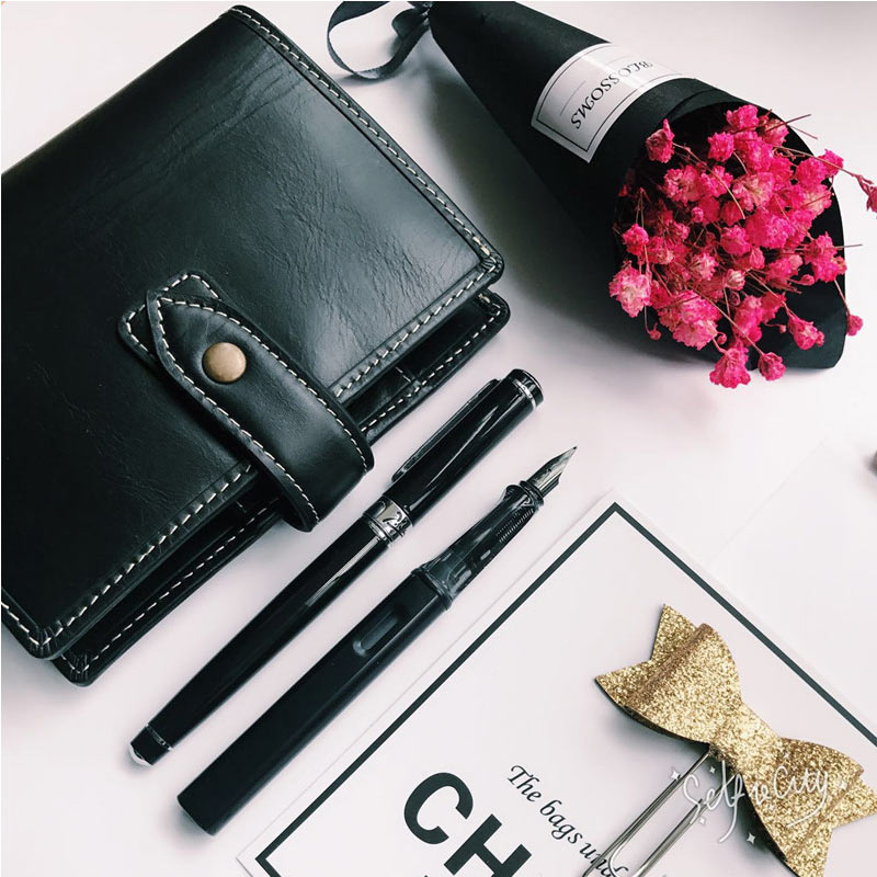 Aggressive Yiwi 100% Brand Black Retro Red Genuine Leather Diary Notebook A5a6 A7loose Leaf Notebook Personal Pocket Notebook Binder