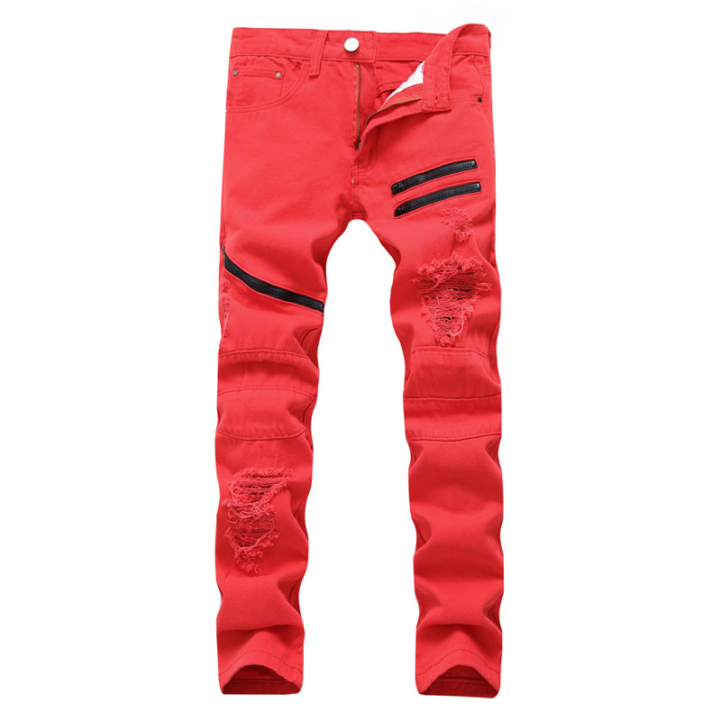 MORUANCLE Fashion Mens Ripped Hip Hop Jeans Pants Distressed Denim Trousers With Holes Multi Zipper Plus Size 28-40