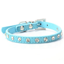 Puppy Dogs Collar Bell Rhinestone PU Leather