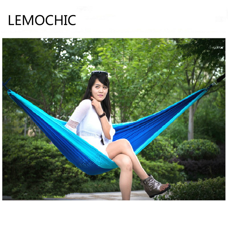 High quality Portable Parachute widen Hammock Garden Outdoor Camping Travel Furniture Hammock Swing Sleeping Bed For 3 Person outdoor sleeping parachute hammock garden sports home travel camping swing nylon hang bed double person hammocks hot sale