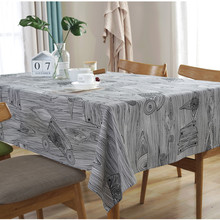 CFen As Quality Nordic Annual Ring Wood Grain Cotton  Printed Dining Tablecloth Home Kitchen Banquet Hotel Decor