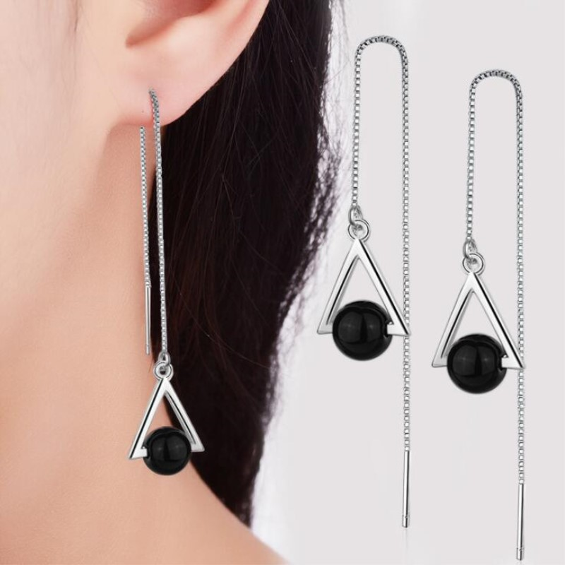 Beautiful Triangle Geometric 925 Sterling Silver Jewelry Long Exaggerated Natural Black Crystal Tassel Dangle Earrings  SE315