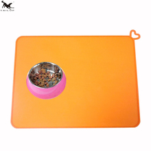 Pet Dog Feeding Bowl Mat Silicone Non-slip pad New Arrival 41 * 31 cm Pet Food Mat Pink Orange Blue Green TMCT011