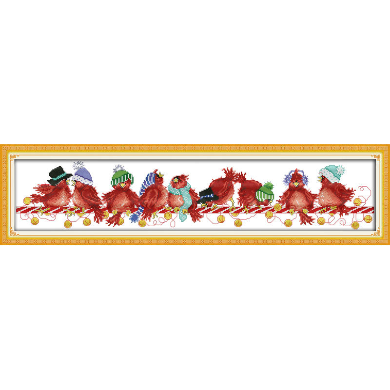 Everlasting love Christmas birds (2) Ecological cotton Chinese cross stitch kits counted stamped 14 CT 11 CT new sales promotion