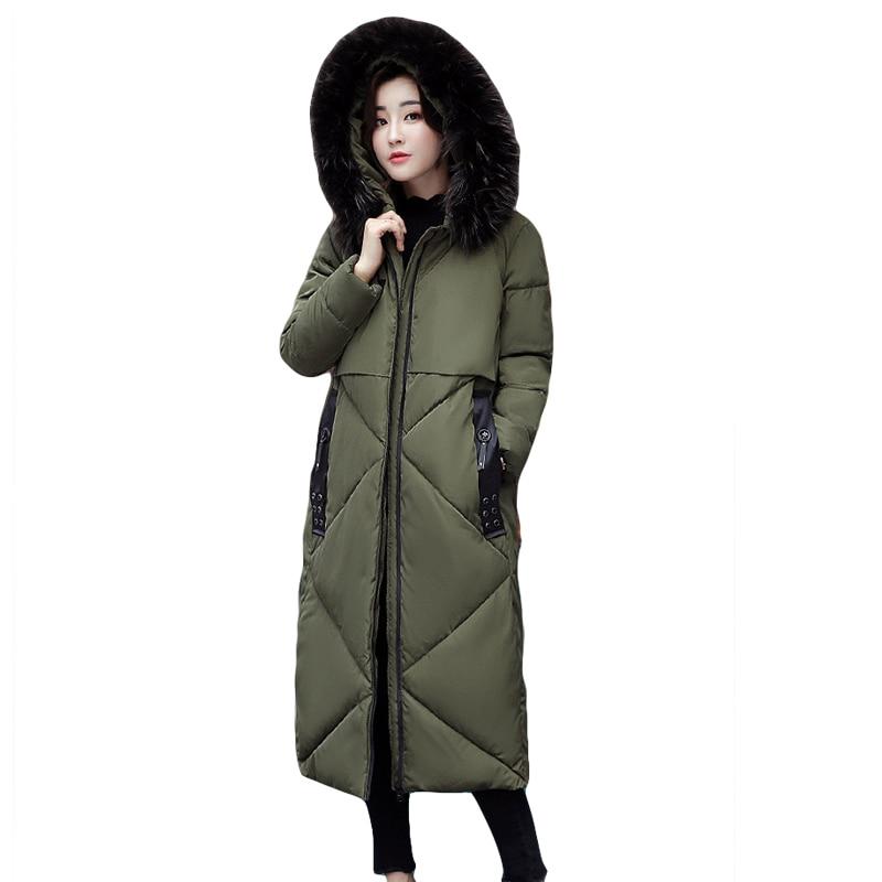 High Quality Large Fur Hooded Women Winter Jacket Ladies Fashion Knee Length X-long Thicken Warm Down Cotton Coat Parkas CM1453 цены онлайн