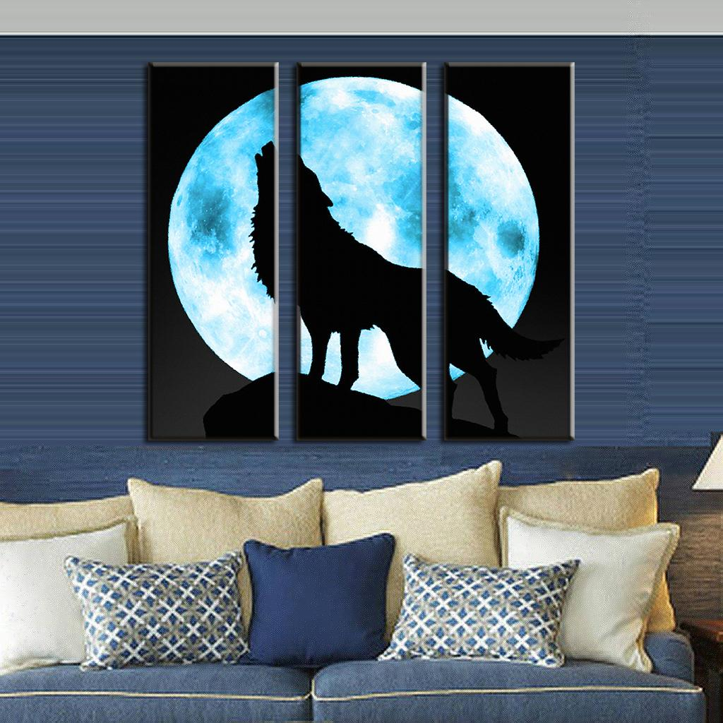 3 pcs set animal wolf wall art for living room modern full moon with the lone wolf painting. Black Bedroom Furniture Sets. Home Design Ideas