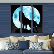 3 Pcs Set Animal Wolf Wall Art For Living Room Modern Full Moon With The Lone Painting Prints On Canvas Bedroom Decor