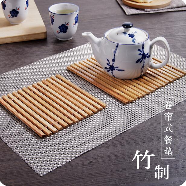 Multifunctional Japan Style Bamboo Slip resistant Drink Coasters 2Pcs Lot Anti hot Dining Table Placemat Pot