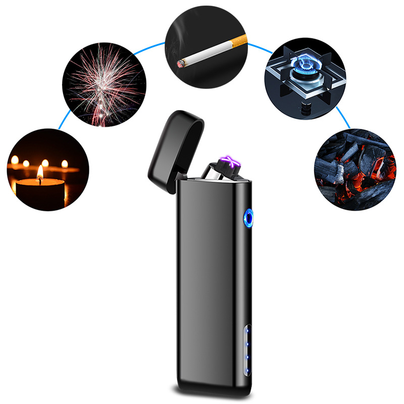 Thin Cigarette Lighter Electric USB Double Arc Lighter Metal Windproof Electronic Rechargeable Plasma Lighters Gadgets for Men