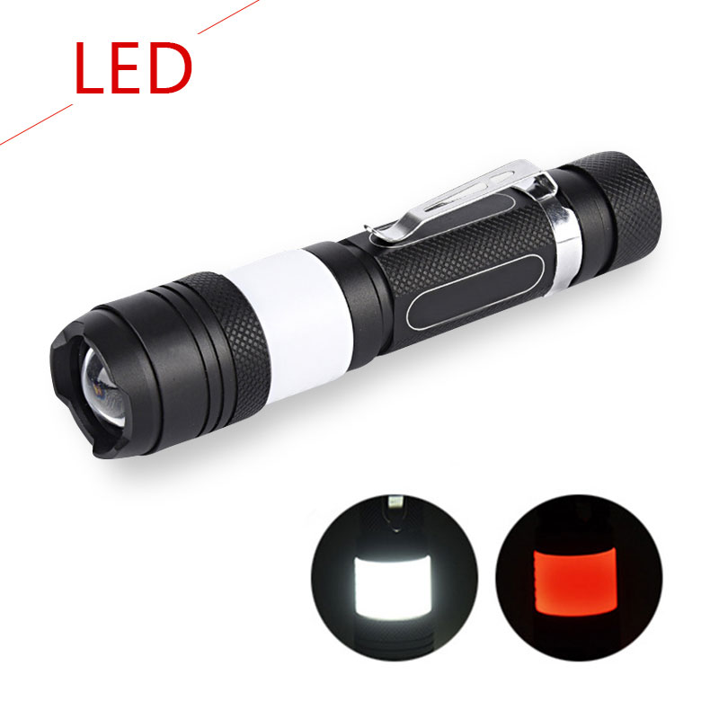 CREE XML T6 COB LED flashlight USB lantern torch rotary zoom design witn 18650 rechargeable battery 6 mode white red cob lights