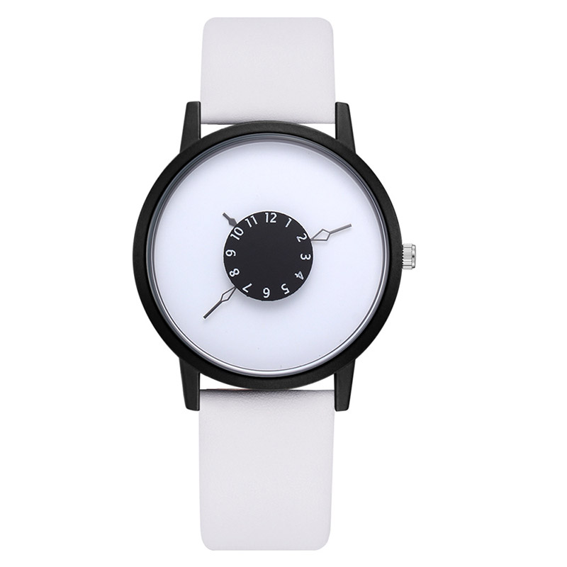 Hot Fashion Creative Watches Women Men Quartz-watch Brand Unique Dial Design Minimalist Lovers' Watch Leather Wristwatches Gift