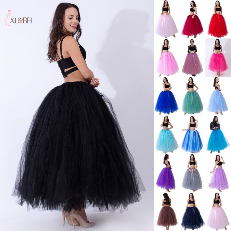 Black Hoopless Long Petticoat Wedding Crinoline Ball Gown Underskirt Layers Tulle Skirt Woman Adult Tutu Bridal Accessories 2020