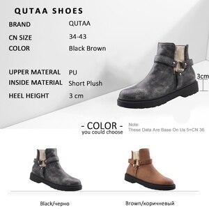 Image 5 - QUTAA 2020 dorywczo okrągłe Toe PU skórzane botki moda ozdoby metalowe kwadratowy obcas zamek zimowe buty damskie duży rozmiar 34 43