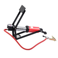 Portable High Pressure Tire Air Inflatable Pump Foot Inflator With Gauge For Car Vehicle Motorcycle Bicycle