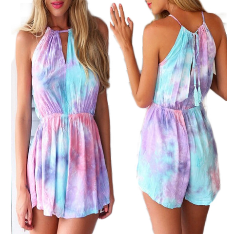 Summer 2019 Women Jumpsuit Sleeveless Halter Colored Drawing Print Playsuit Overalls Rompers Beach Wear Macacao Feminino S51210