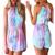 Verão 2016 Mulheres Macacão Sem Mangas Halter Colorido Desenho Impressão Playsuit Macacão Macacão Beach Wear macacão feminino S51210
