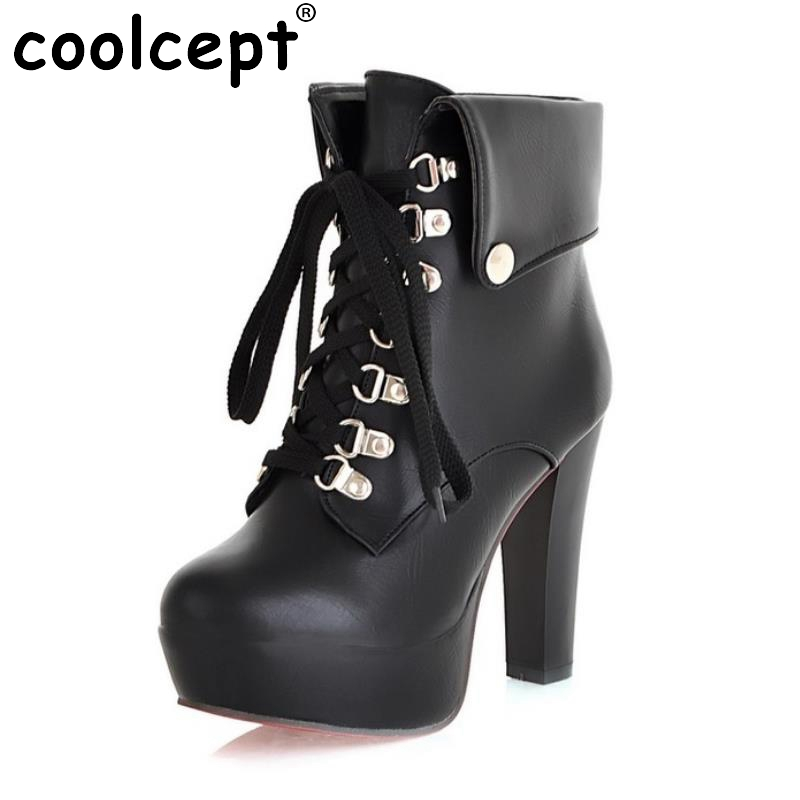 Women Faux Leather Ankle Boots Designer Fashion Platform Chunky High Heels Lace Up Short Booties Woman Shoes Size 34-43