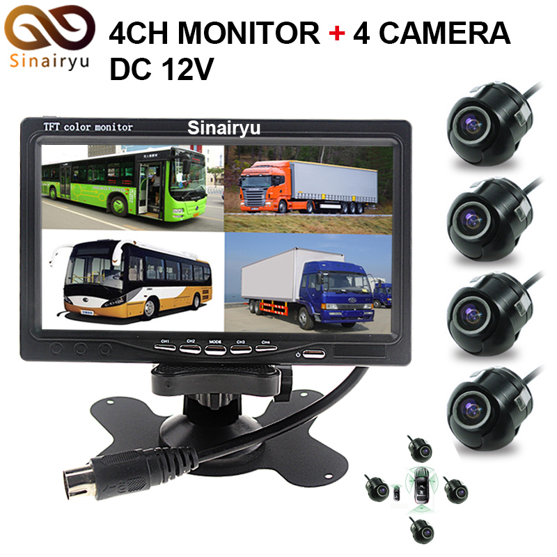 Sinairyu 7 LCD 4CH Video input Car Monitor With Front RearView Camera Quad Split Screen 6 Mode Display 4 CCD Rearview Camera