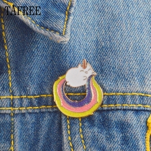 TAFREE Coloured Unicorn Lapel Pins Colorful Enamel Alloy Badge Rainbow Aniaml Brooch Up Jewelry LP237