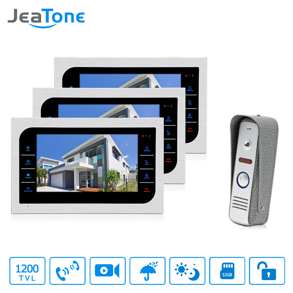 JeaTone 7 inch TFT LCD Door Phone Video Doorbell System IR Night Vision  Camera Video Intercom Home Apartment Entry Kit 3v1 tmezon 4 inch tft color monitor 1200tvl camera video door phone intercom security speaker system waterproof ir night vision 1v1