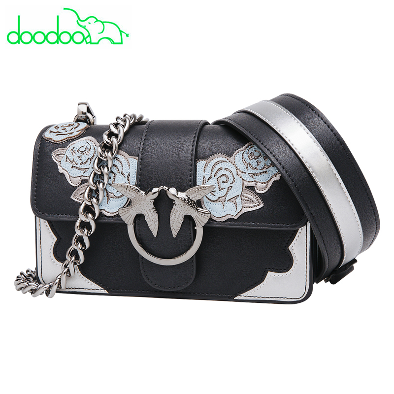 DOODOO 2018 Newest Fashion Swallow Messenger Bag Flower Embroidery Bag Designer Clutch Tote Bag Famous Brands Chain Shoulder Bag flower embroidery flap chain bag