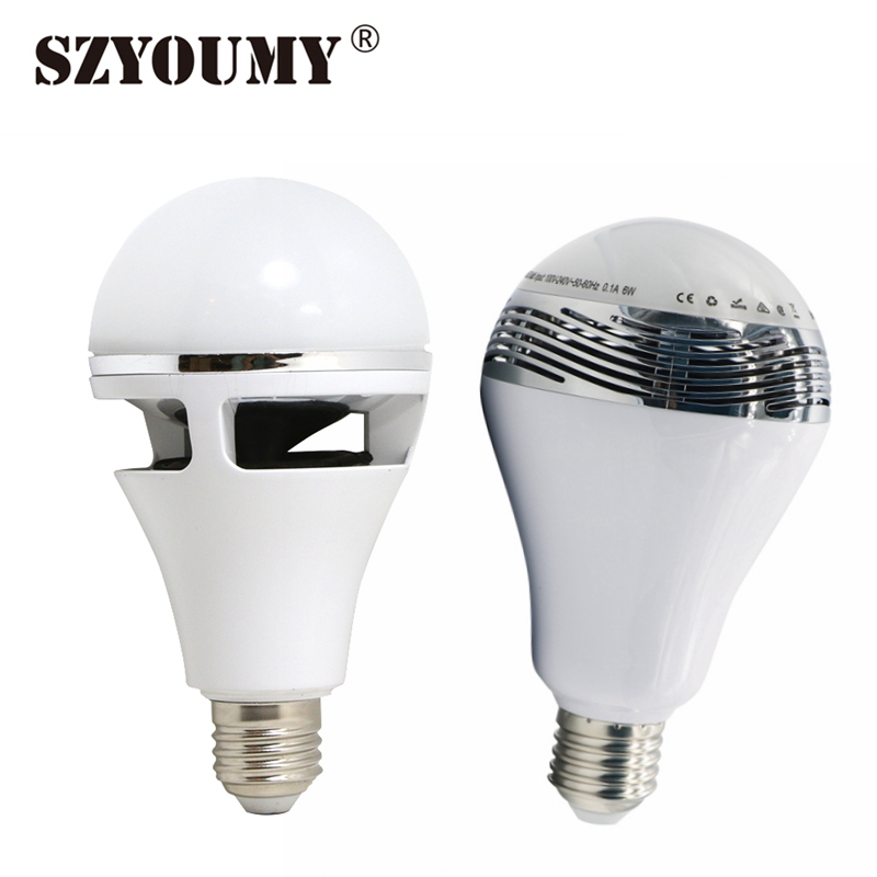SZYOUMY Bluetooth E27 LED RGB Light Music Bulb Lamp Color Changing Via Wifi App Control Mp3 Player Wireless Bluetooth Speaker smart bulb e27 led rgb light wireless music led lamp bluetooth color changing bulb app control android ios smartphone